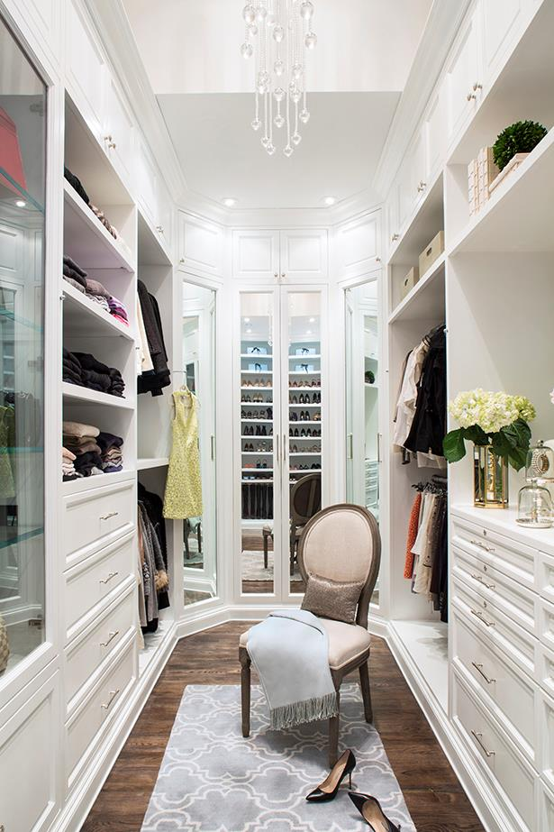 """<strong>Put on your space magician's hat</strong><br><br> """"If there is seemingly no more space in your closet, make sure you've considered all of your vertical space and depth. Have you gone to the ceiling with your cabinetry? Can you replace shelves with deeper pull-out shelves?  Here's an out-of-the-box idea:  Can you add a moving cabinet or tall peninsula to use more of the square footage in your closet? Consider a pull-down rod to take hanging higher up to the ceiling where you wouldn't be able to normally reach."""""""