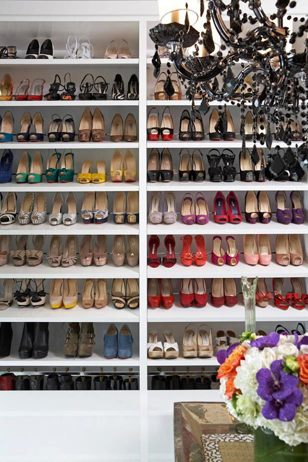 """<strong>Keep your shoes safe</strong><br><br> """"I like to see all of my shoes at first glance!  So, if I am storing them double deep, then I will organise/style them so that one shoe of the pair is in front and one in back; that way, there is no shoe in the back row that you don't see. To maximise shoe space, I arrange my shoes together by height so all of my flats sit in a 4"""" shelf.  Since shoe space is valuable real estate in most closets, you wouldn't want to waste flats going in an 8"""" space for heels, etc. When off season, store tall boots in leather boxes up higher in your closet."""""""