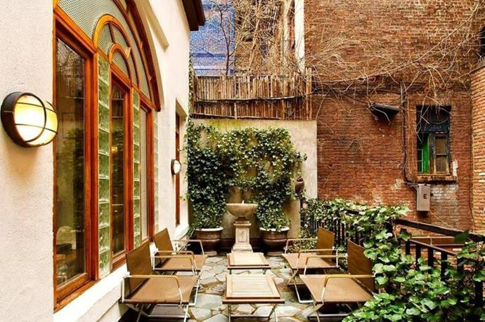 The lush private courtyard.