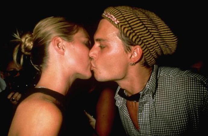 Our heart aches. Kate Moss and Johnny Depp kiss in 1997