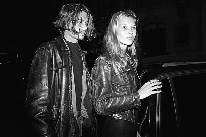 The epitome of cool: Kate Moss and Johnny Depp wearing matching leather jackets, New York, 1994.