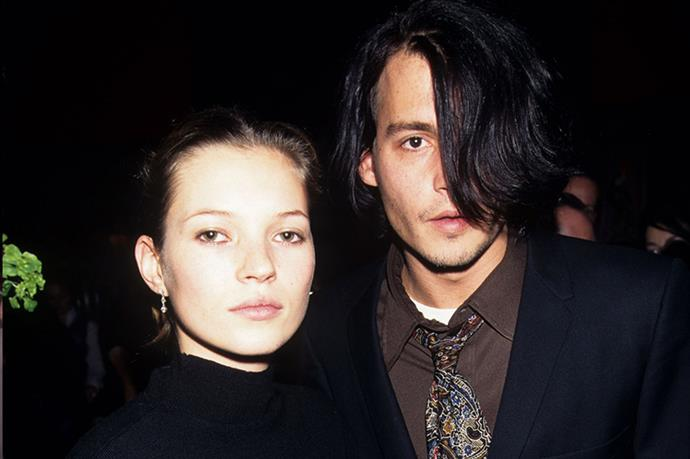 We die. Kate Moss and Johnny Depp looking ice cold at the Fear and Loathing in Las Vegas 25th Anniversary party, 1996.