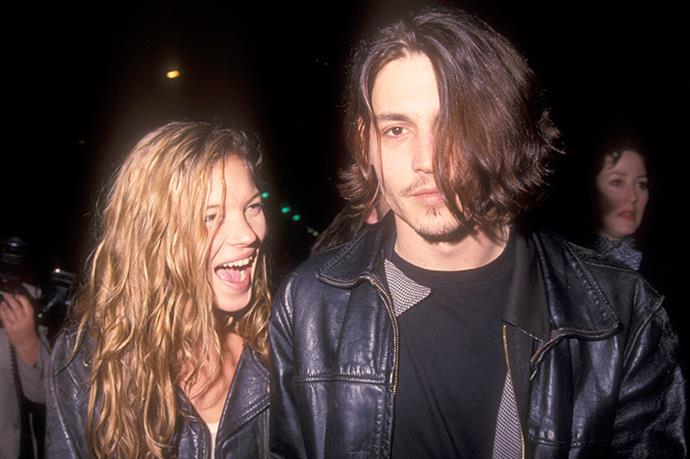 So much adoration. Kate Moss and Johnny Depp out in LA, 1998