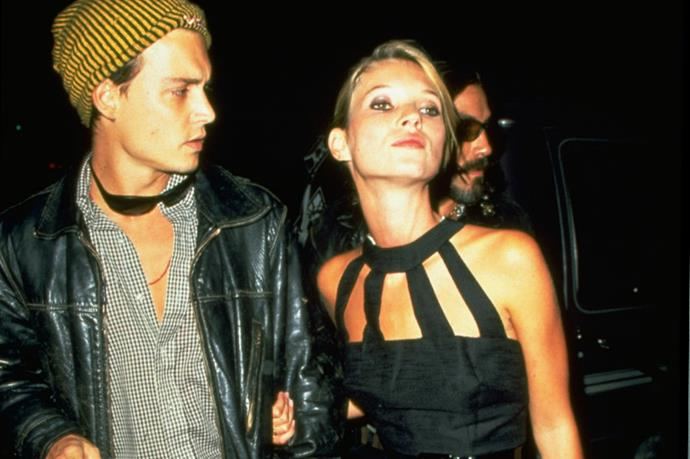 '90s attitude perfection. Kate Moss and Johnny Depp in 1995.