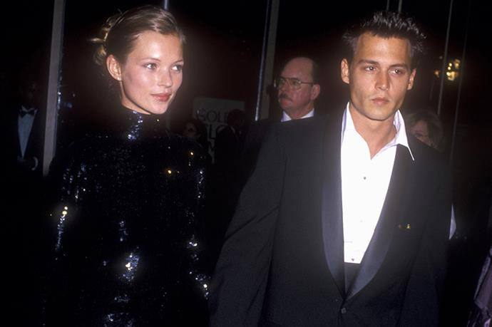 Red carpet cool 101: Kate Moss and Johnny Depp at the 52nd Golden Globes, 1995