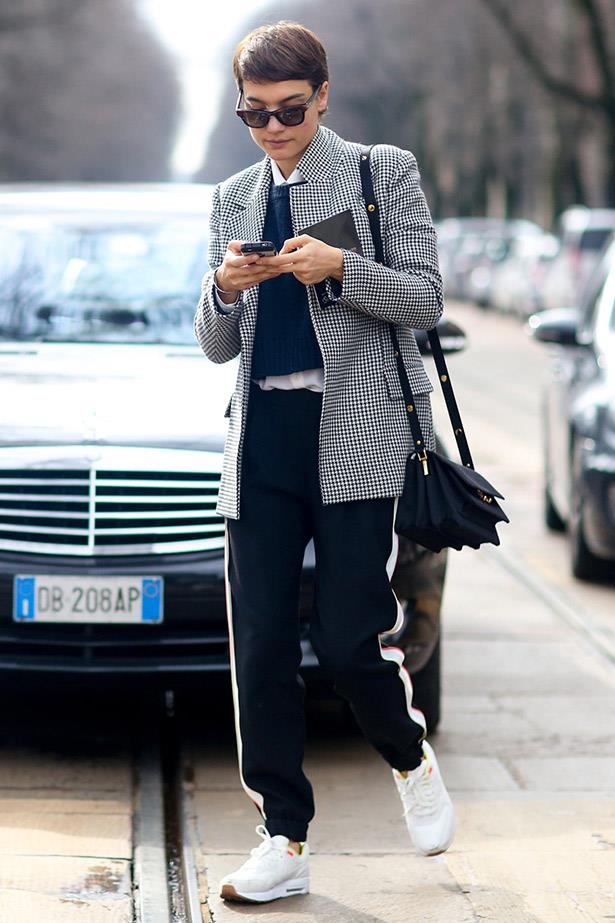 Relaxed chic at the shows in Milan.