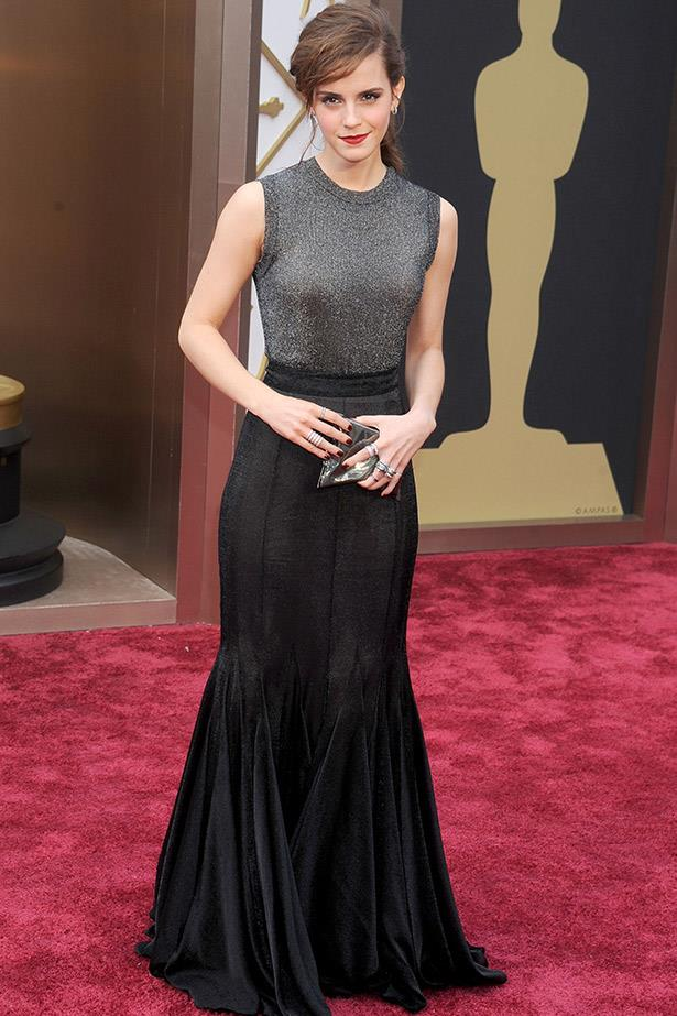 Emma Watson in one of the standout looks of the Academy Awards, a metallic Vera Wang gown.
