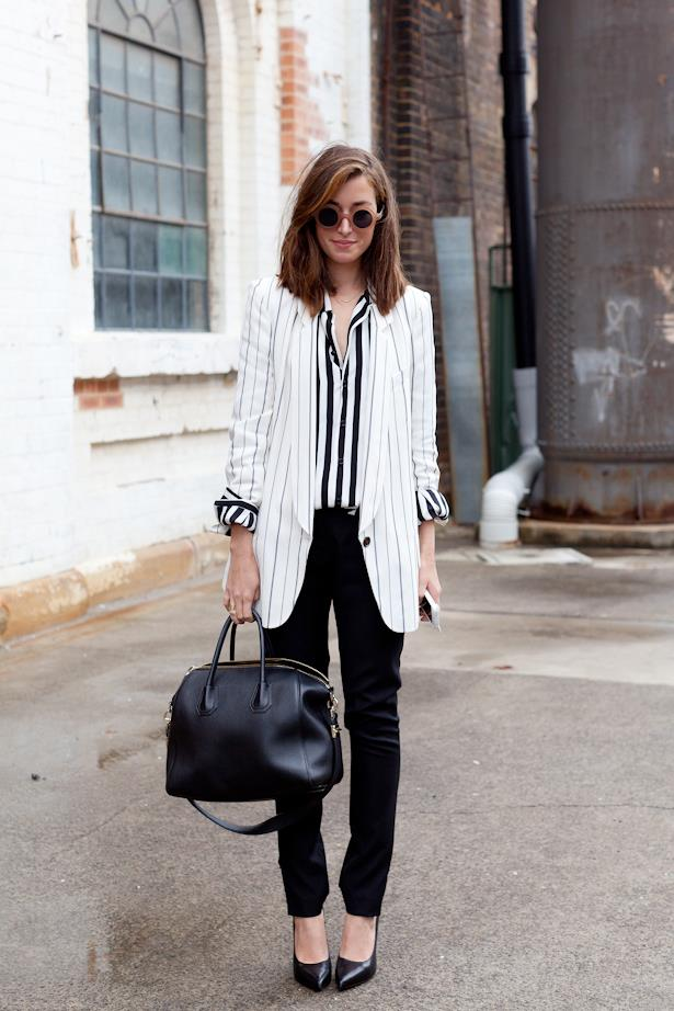 Blogger Carmen Hamilton dons a variety of pinstripes at MBFWA worn with Givenchy bag and statement sunnies