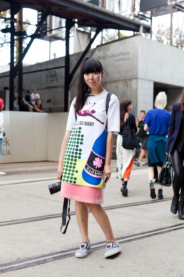 Street style star Susie Bubble keeps things bright in vivid colours and skate shoes