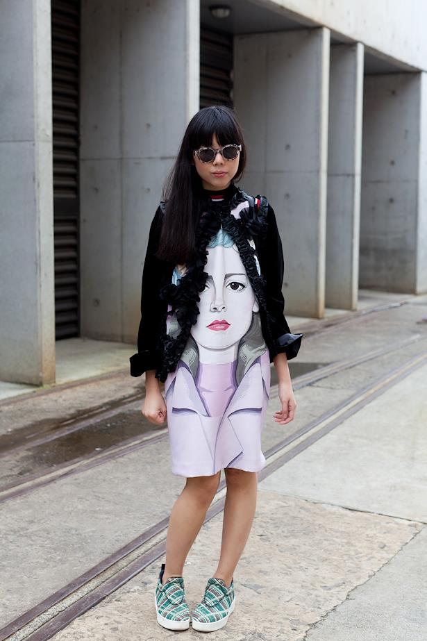 Susie Bubble wearing Prada dress and Comme Des Garcon cardi.