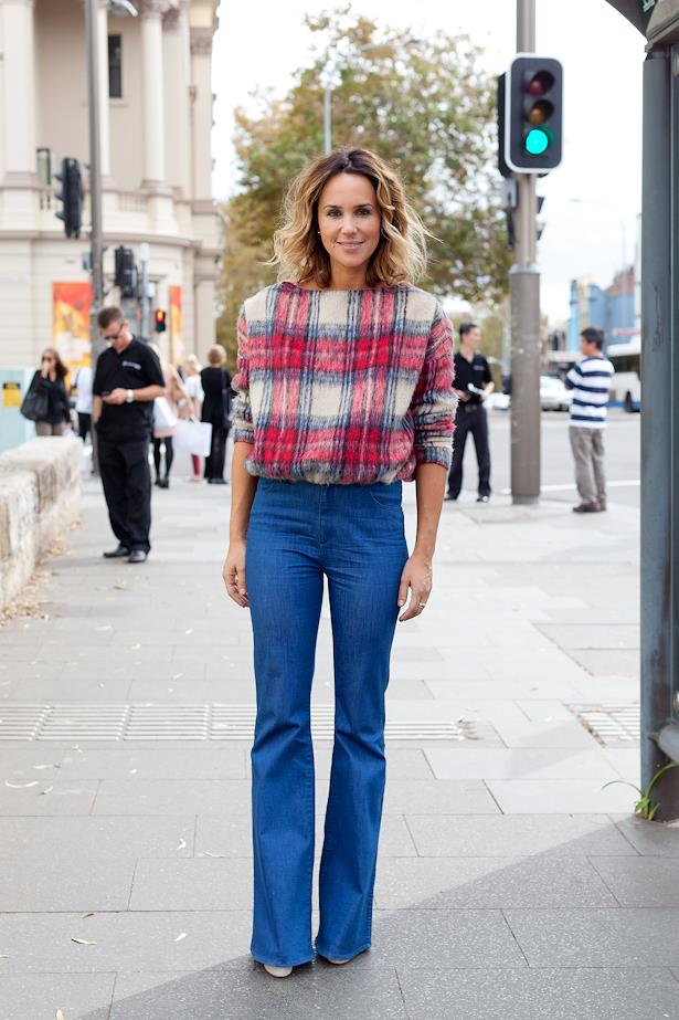 Pip Edwards wearing Maurie and Eve jumper and Levi's jeans.