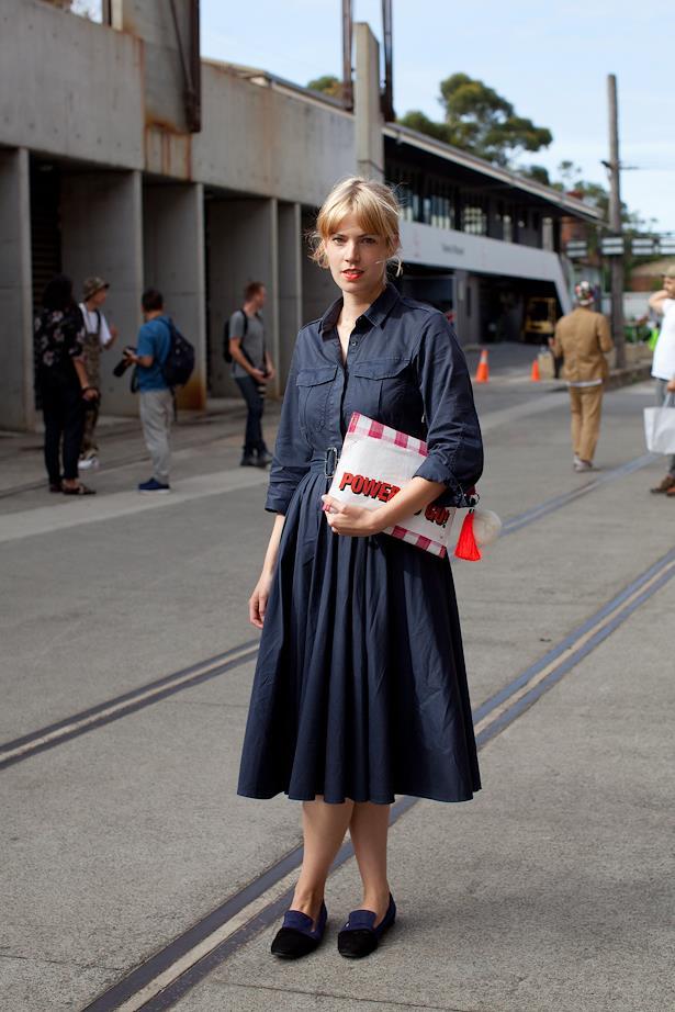 Rosie Findlay wears Dries Van Noten dress, bespoke clutch and Jill Sander shoes.