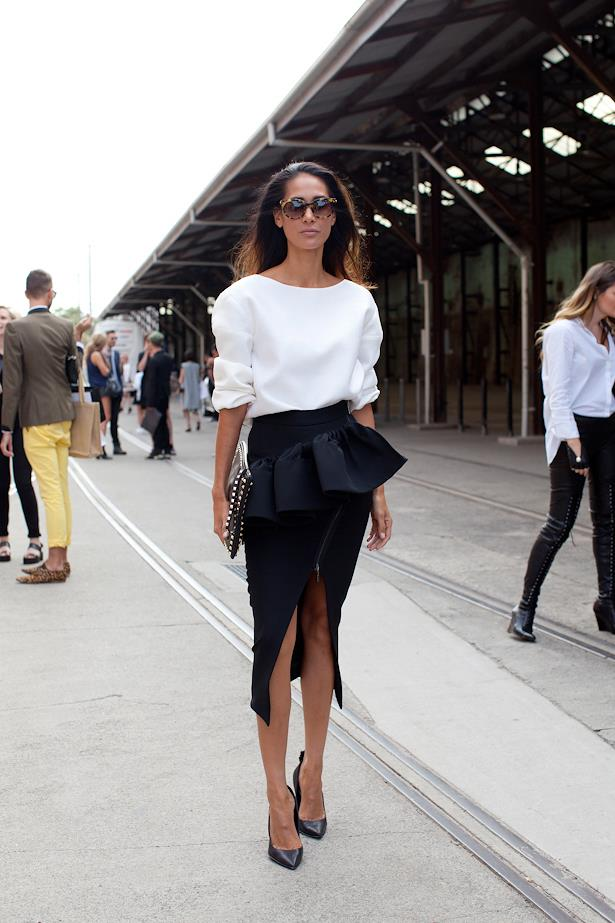 Lindy Klim wears Toni Maticevski top and skirt with Valentino clutch.