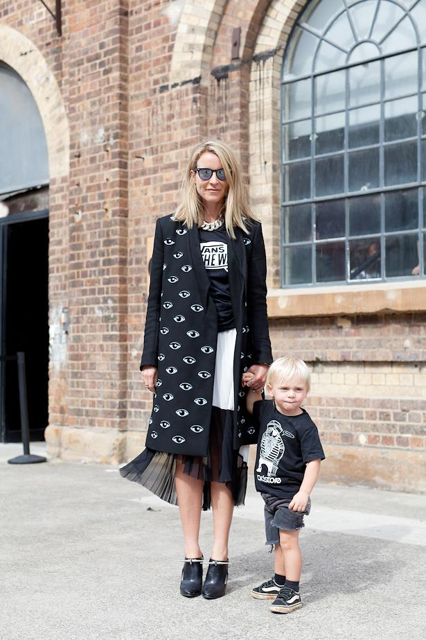 Amanda Shadforth wears Kenzo jacket, Vans tee, Zara skirt and Anthony Vaccarello booties. Pictured here with her son Knox.