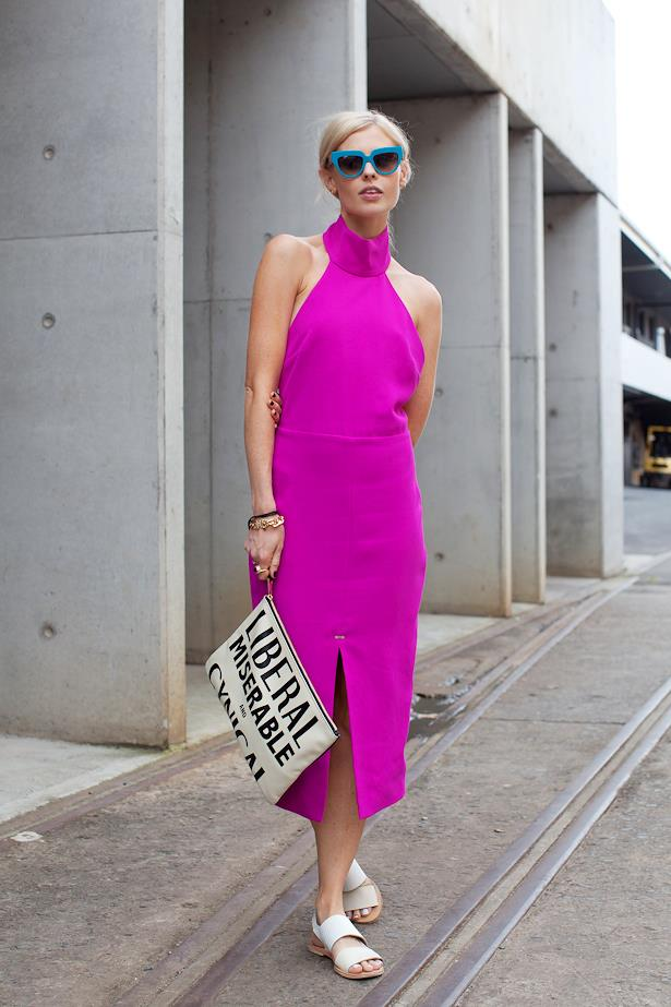 Natalie wears Bec & Bridge dress, Karen Walker clutch and Prada sunglasses.
