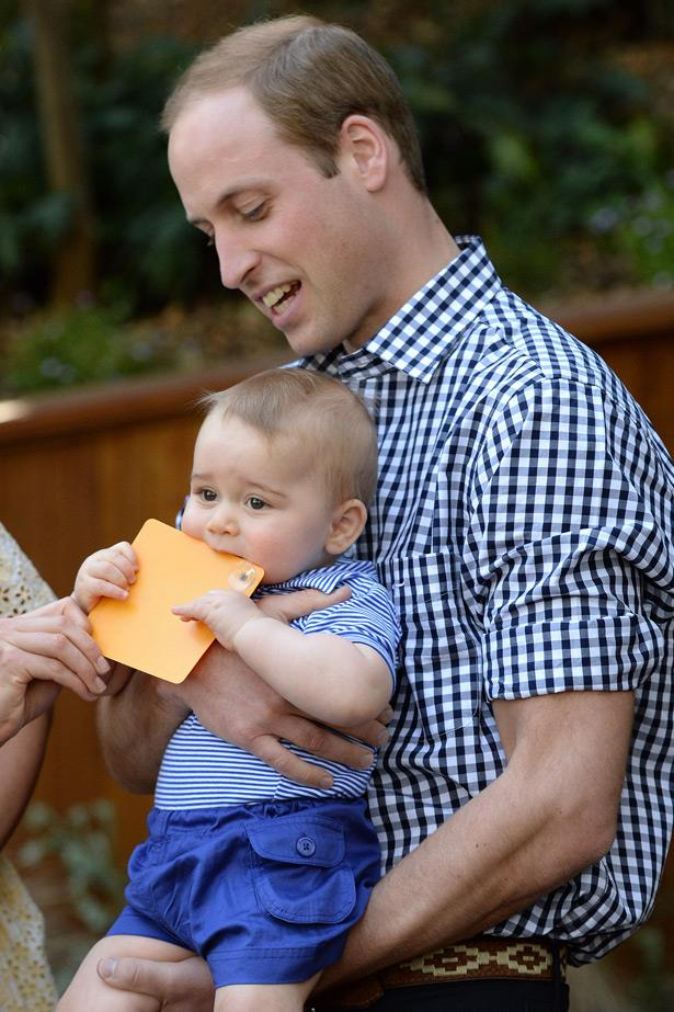 Can you even deal? Baby Prince George does some taste testing.