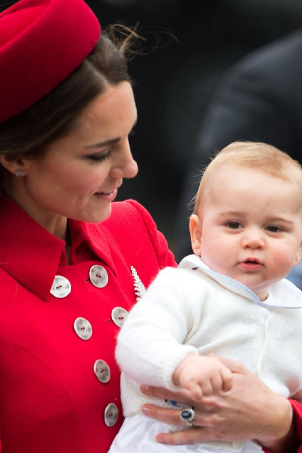 Another day, another flight. Prince George and Catherine getting off the plane in Wellington, New Zealand.
