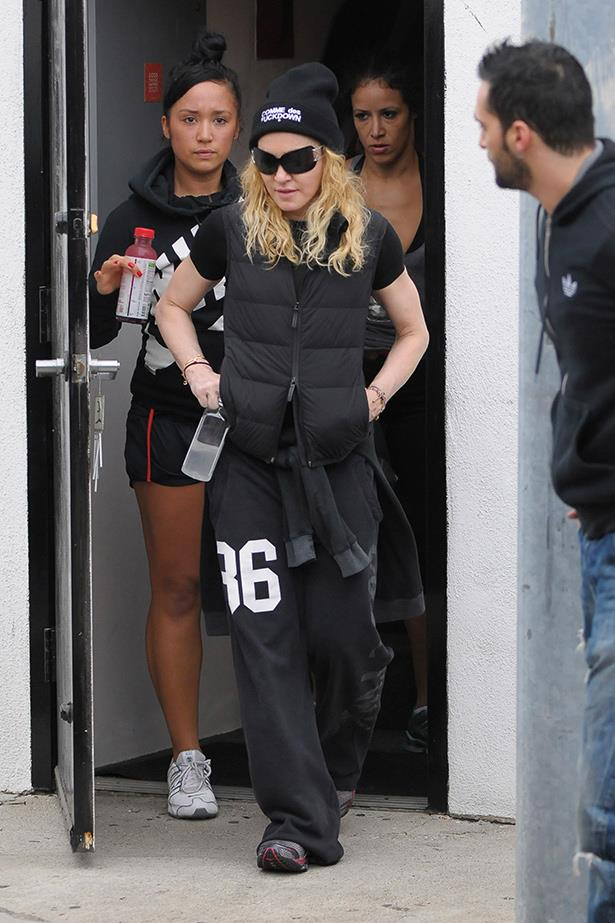 Madonna's workout wardrobe is vast – with an abundance of tracksuit pants.
