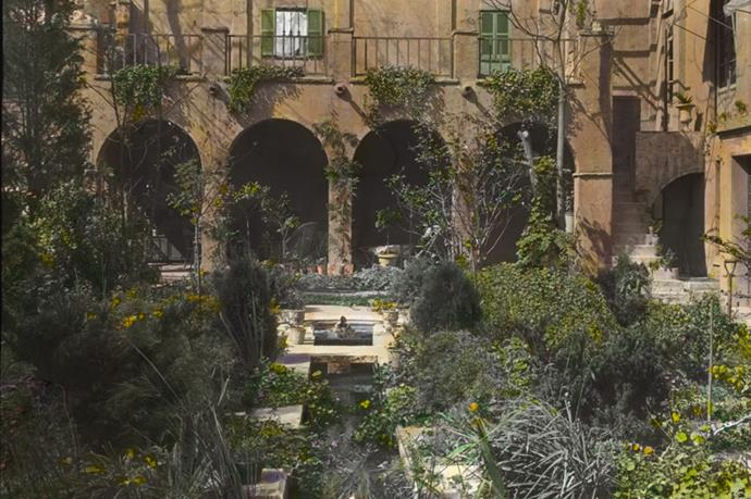 Aside from a shared garden (pictured here), the townhouse also features a private garden with a 'Medici fountain'  said to be modelled after the original in Rome.