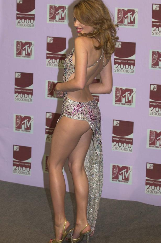 The Showgirl returns: Kylie wore this spangly number to perform her duet, <em>Kids</em> with Robbie Williams at the European MTV Movie Awards in 2000.