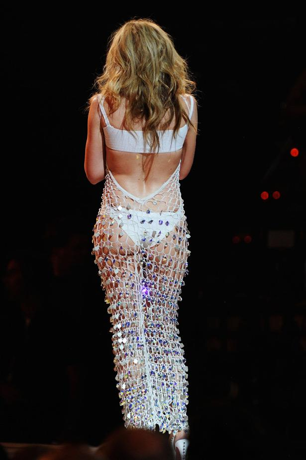 Performing at the Billboard music awards in 2011, Kylie caused a stir in this crocheted look, highlighting her best asset.