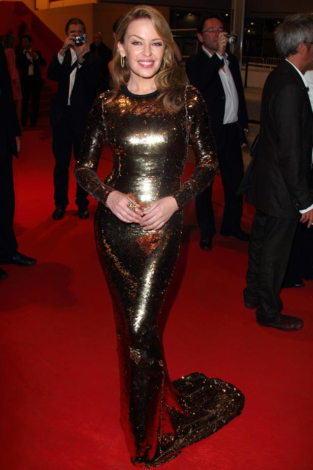 Once again wearing Dolce & Gabbana, Kylie attends the Cannes premiere of her 2012 film, <em>Holy Motors</em>.