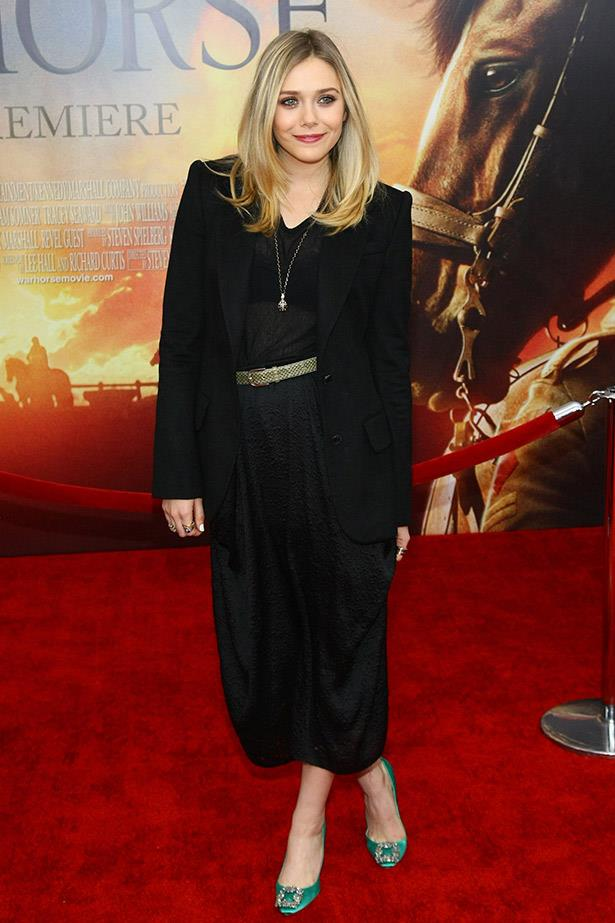 Wearing her sisters' label, The Row to the New York premiere of War Horse.