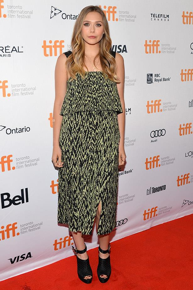 Wearing another look by Proenza Schouler, Elizabeth Olsen shines at the Toronto Film Festival last year.