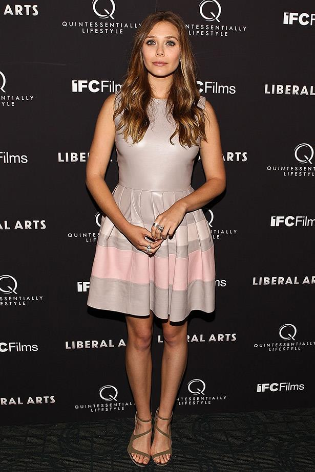 At the screening of her film <em>Liberal Arts</em>, Olsen chose to wear this beautiful pastel dress by Christian Dior.