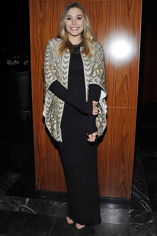 On the runway, this Balmain jacket looked very rock 'n'roll sexy, but Elizabeth Olsen manages to make give the piece a bohemian spin.