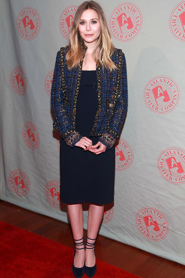 A long-time fan of the theatre, Elizabeth Olsen wore this dress by The Row and Chanel boucle blazer to the Atlantic Theater Company's Spring Gala in 2012.