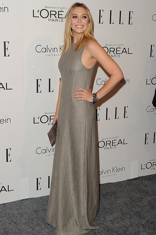 Elizabeth Olsen keeping it shimmery and simple in Calvin Klein Collection for ELLE US's Annual Women in Hollywood Tribute.