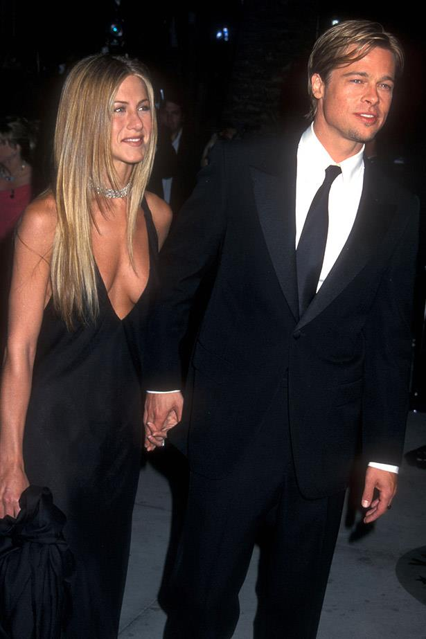 Straight and sleek with then-partner Brad Pitt in 1998