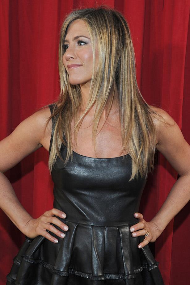 Jennifer Aniston's long locks earlier this year.