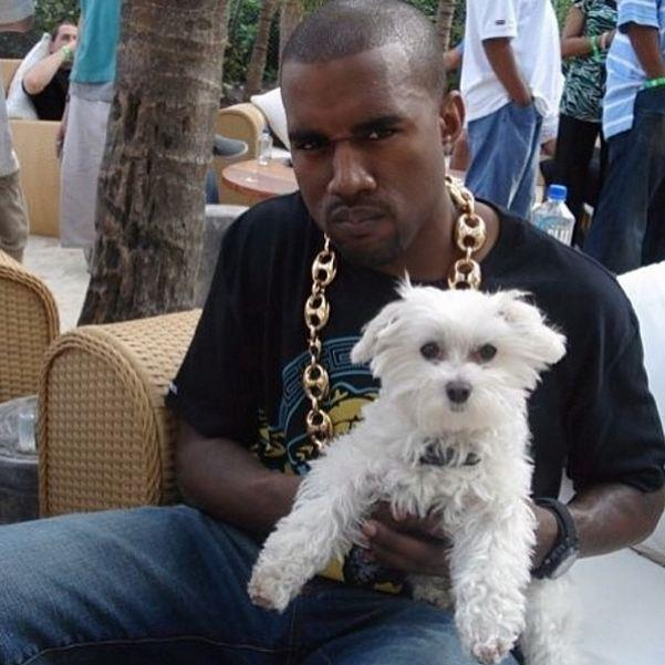 Kanye adds a fluffy member to his clique.