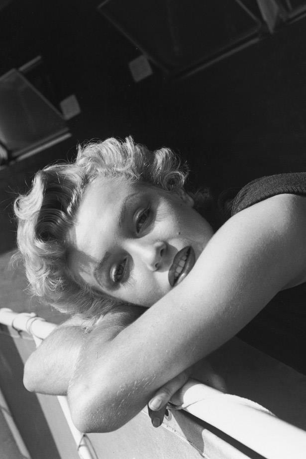 Marilyn Monroe poses while enjoying some downtime in 1955.