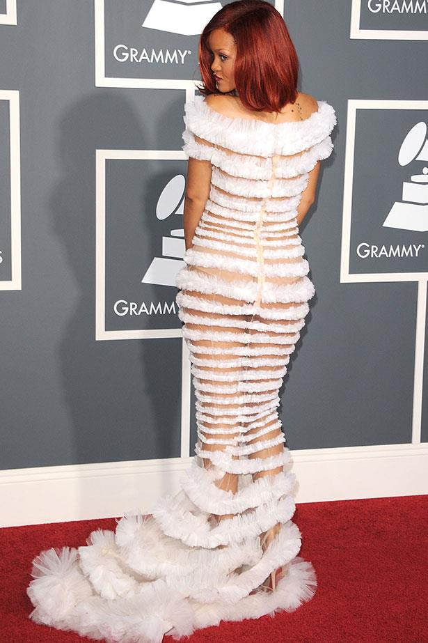 Sheer again – this time in an amazing multi-layered Jean-Paul Gaultier gown at the 2011 Grammy Awards.