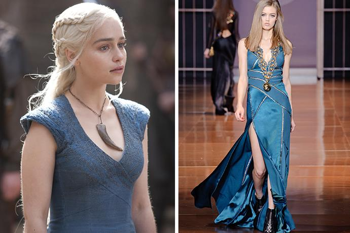 Daenerys Targaryen (Khaleesi) <br><br> When the Breaker of Chains finally takes her seat on the Iron Throne (you know she will), we're imagining a Versace gold medallion wouldn't look too out of place. Certified dragon proof.