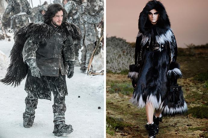 """Jon Snow <br><br> Oh Jon Snow, is it possible you look even better in fur that without? While the situation is frosty at Castle Black, Alexander McQueen's shaggy coats will keep things suitably steamy.  After all, """"winter is coming""""."""
