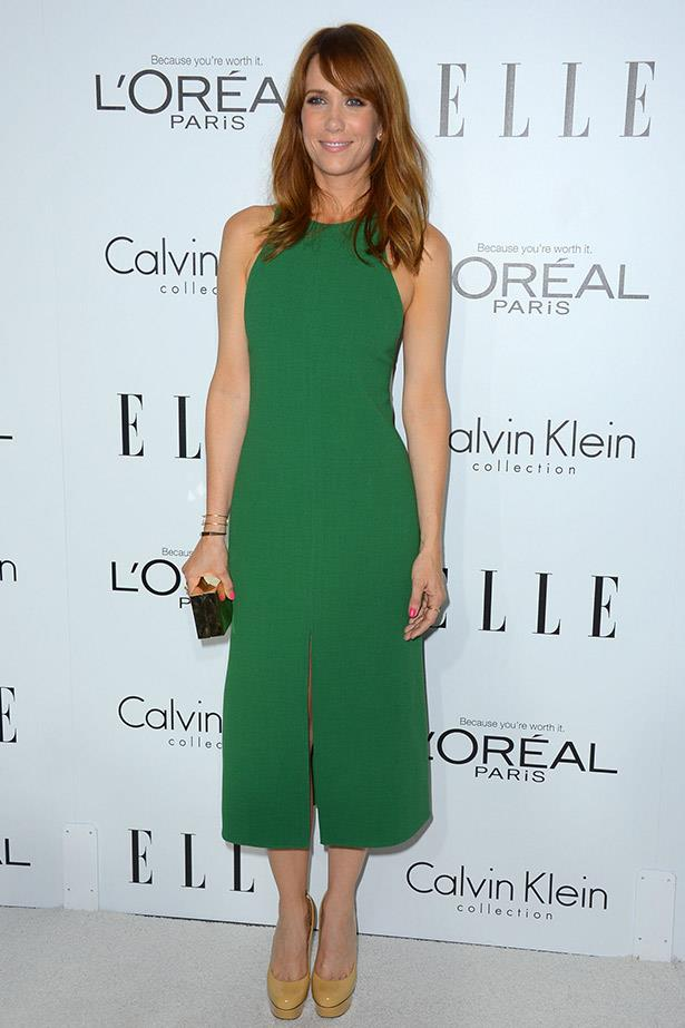 At the<em> ELLE</em>19th Annual Women In Hollywood Celebration, Kristen Wiig rocked the white carpet in this emerald green dress by Calvin Klein.