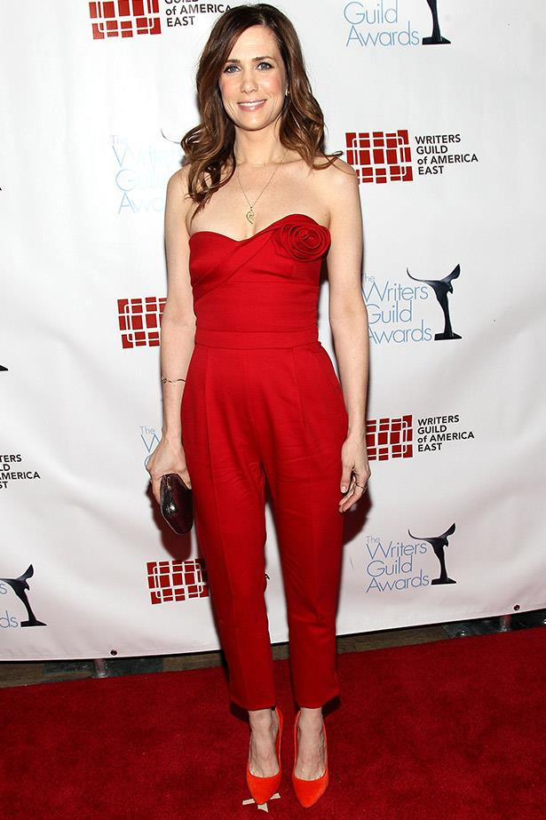 We love this fire engine red Valentino jumpsuit on Wiig, it's flattering, sexy and just risky enough to get our attention.