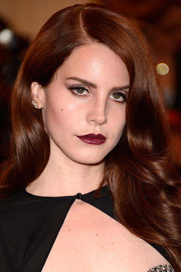 The songstress rocks a deep wine lip and defined lashes at the 2012 Met Gala.