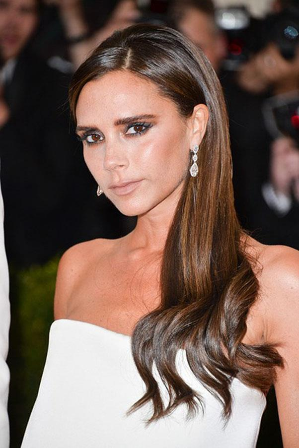 Victoria Beckham as a brunette.