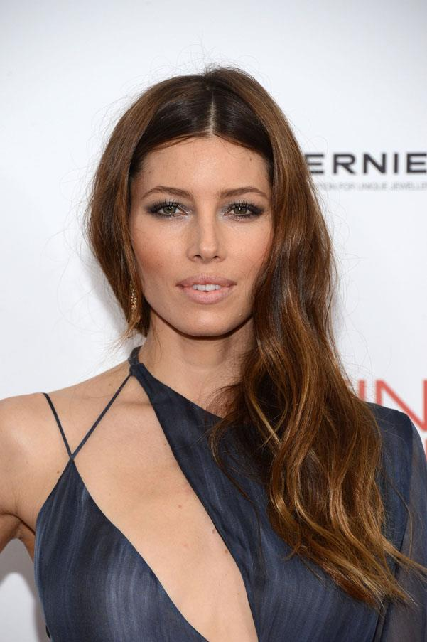 Jessica Biel with her darker hued hair.