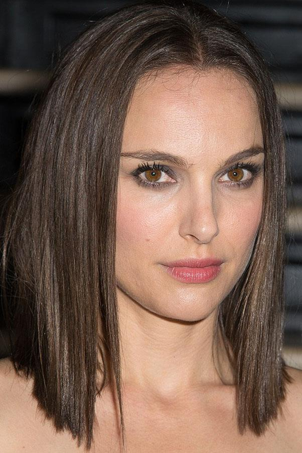 Natalie Portman with her natural chestnut bob.