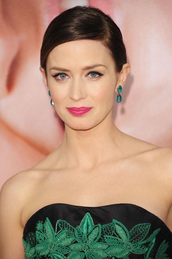 Emily Blunt's experimental style should be applauded, she's often switching up her makeup and hair looks. Example A: Blunt at the premiere for <em>The Five Year Engagement</em>, where she contrasted her dark, slicked hair with a neon pink lip.