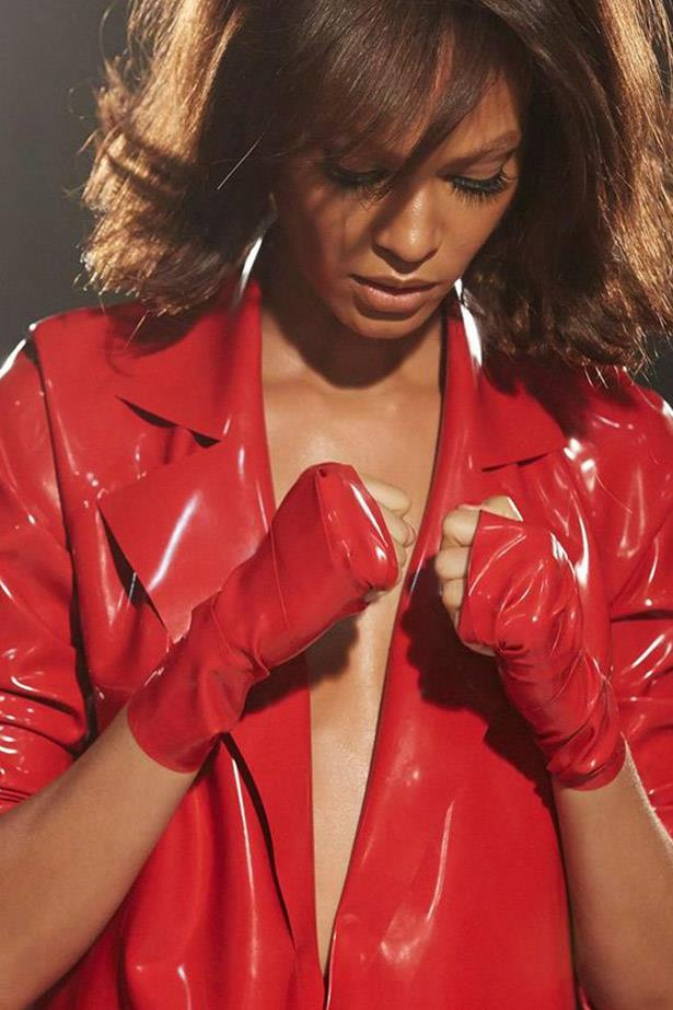 Joan Smalls' latex look gets a high-fashion twist.