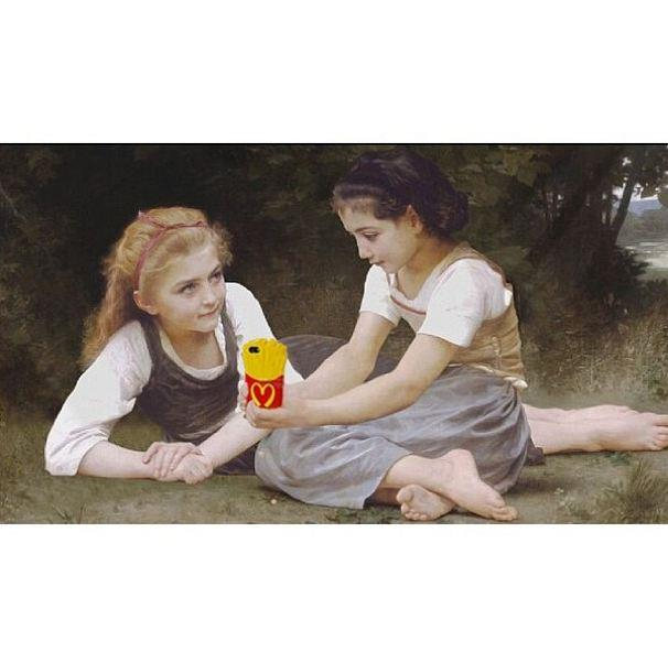 """""""Should I add it to my snap story?""""<br> Original: The Nut Gatherers, William Adolphe Bouguereau <br> Added: Moschino French Fry iPhone cover <br><br> Instagram: @copylab"""