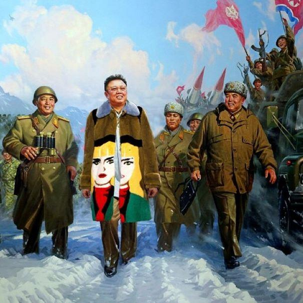 """The Kim Jong-illest""<br> Original: Kim Jong-Ill propaganda work (artist unknown) Added: Prada Coat<br><br> Instagram: @copylab"