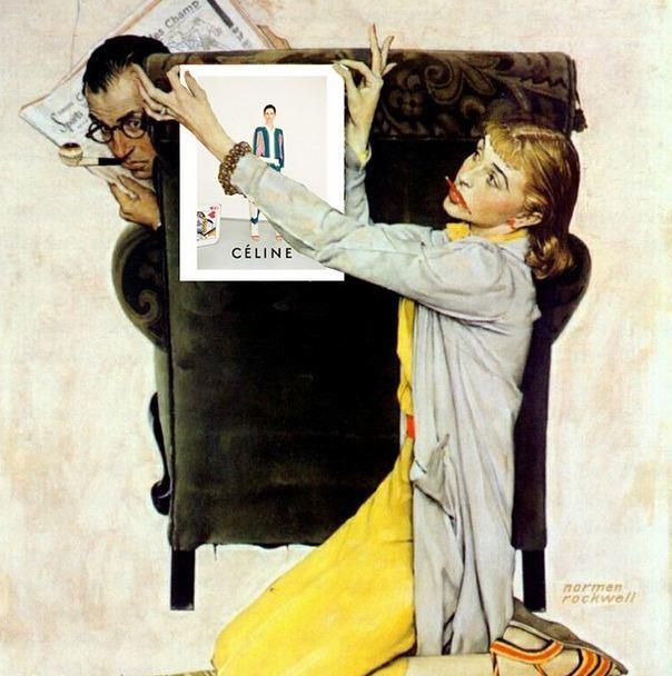 """Pin Up."" <br> Original: The Decorator, Norman Rockwell <br> Added: Celine advertisement <br><br> Instagram: @copylab"